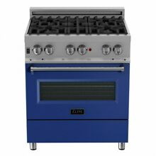 ZLINE 30  DUAL FUEL RANGE OVEN GAS ELECTRIC STAINLESS BLUE DOOR RAS BM 30
