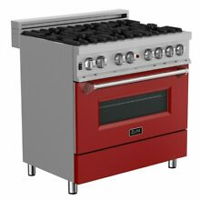 ZLINE 36  DUAL FUEL RANGE OVEN GAS ELECTRIC STAINLESS RED DOOR RAS RM 36