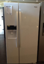 New Open Box Whirlpool  21 4 Cu  Ft  Side by Side Refrigerator White WRS321SDHW
