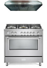 Verona Designer Series 36  All Gas Range Oven Hood Package Stainless Steel