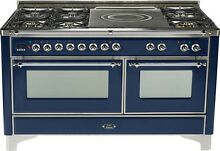 Ilve UM150SDMPBLX Majestic Series 60  DualFuel Gas Range Double Oven French Top