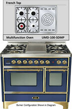 Ilve UMD100SDMPBL 40  Majestic Pro Dual Fuel Gas Range Double Oven French Top