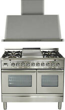 Ilve UPDW100FDMPI Pro 40  Dual Fuel Gas Range Griddle Double Oven Hood Stainless