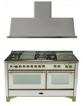 Ilve UM150FSDMPIY 60  Dual Fuel Gas Range Oven Griddle French Top 2pc Package