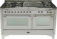 Ilve UM150SDMPIX Majestic Pro 60  Dual Fuel Range Oven French Top Stainless