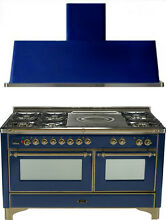 Ilve UM150SDMPBLY Majestic 60  Dual Fuel Gas Range Oven French Top 2pc Package