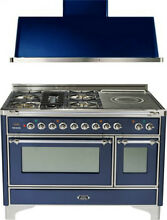 Ilve UM120SDMPBLX 48  DualFuel Range French Top Double Oven Hood Kitchen Package
