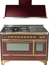 Ilve UM120SDMPRB 48  Dual Fuel Range French Top Double Oven Hood Kitchen Package
