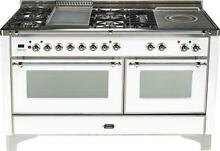 Ilve Majestic UM150FSDMPBX 60  Pro Dual Fuel Gas Range Oven Griddle French Top