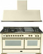 Ilve UM150FDMPAY Majestic 60  Pro Dual Fuel Gas Range Double Oven 2Pc Package