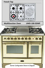 Ilve UMD100SDMPAY 40  Majestic Pro Dual Fuel Gas Range Double Oven French Top
