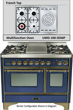 Ilve UMD100SDMPBLY 40  Majestic Pro Dual Fuel Gas Range Double Oven French Top