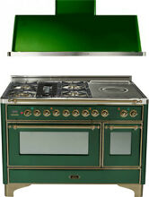 Ilve UM120SDMPVSY 48  DualFuel Range French Top Double Oven Hood Kitchen Package