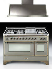 Ilve UM120FDMPYR7039 Majestic 48  Pro Dual Fuel Gas Range Oven Kitchen Package