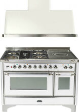 Ilve UM120SDMPBX 48  Dual Fuel Range French Top Double Oven Hood Kitchen Package