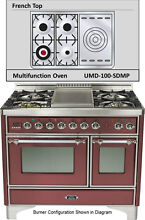 Ilve UMD100SDMPRBX Majestic 40  Pro Dual Fuel Gas Range Double Oven French Top