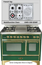 Ilve UMD100SDMPVS Majestic Pro 40  Dual Fuel Gas Range Oven French Top