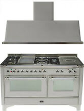 Ilve UM150FSDMPIX 60  Dual Fuel Gas Range Oven Griddle French Top 2pc Package
