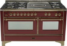 Ilve UM150SDMPRBY Majestic Series 60  DualFuel Gas Range Double Oven French Top