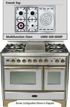 Ilve UMD100SDMPIY 40  Majestic Dual Fuel Gas Range Oven French Top Stainless