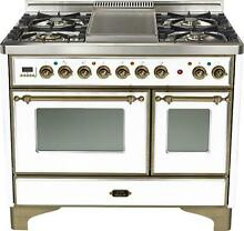 Ilve UMD100FDMPBY 40  Majestic Pro Dual Fuel Gas Range Double Oven Griddle Top
