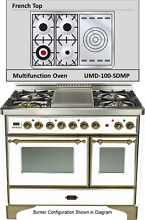 Ilve UMD100SDMPBY 40  Majestic Dual Fuel Gas Range Double Oven French Top