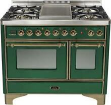 Ilve UMD100FDMPVSY Majestic 40  Dual Fuel Gas Range Double Oven Warming Drawer