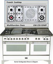 Ilve UM150SDMPBX Majestic Series 60  DualFuel Gas Range Double Oven French Top