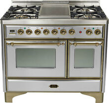Ilve UMD100FDMPIY 40  Majestic Pro Dual Fuel Gas Range Oven Stainless Steel