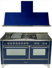 Ilve UM150FSDMPBLX 60  Dual Fuel Gas Range Oven Griddle French Top 2pc Package