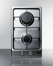 Summit GC22SS 12  Built in Gas Cooktop 2 Sealed Burners Stainless Steel