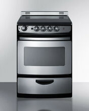 Summit REX245SSRT 24  Slide In Electric Range Smooth Top Stainless Steel