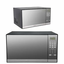 1000 Watt Microwave Oven w Grill Stainless Countertop Kitchen Cooker Mirror Look