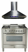Ilve UPW90FDMPI Pro Series 36  Dual Fuel Range Oven Griddle With Hood Stainless