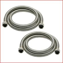 Universal Washing Machine Hose 6 ft  2 Pack Stainless Steel High Efficiency New