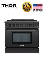 Thor Kitchen   36  Professional Gas Range in Black Stainless Steel