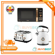 Tower 1 7L Traditional Kettle  4 Slice Toaster   800W Digital Microwave In White