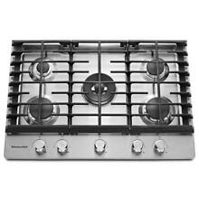 KitchenAid 30  Stainless Steel 5 Burner Gas Cooktop KCGS550ESS