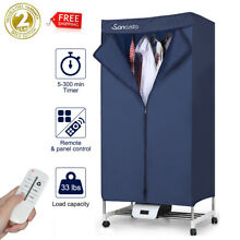 Portable 1000W Heated Laundry Clothes Dryer Folding Drying Machine Timer  Remote
