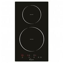 Empava Electric Induction Cooktop 2 Burners Smooth Tempered Glass Black 12 inch