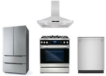 Stainless Steel Dishwasher  Dual Fuel Range  Range Hood And Refrigerator Package