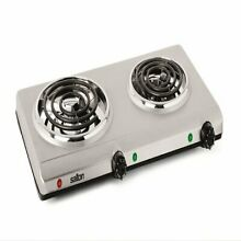 Salton THP 528 Electric Double Coil Cooking Range  Stainless Steel