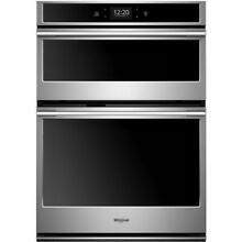 Whirlpool 6 4 cu  ft  Smart Combination Electric Wall Oven with Built In Microwa