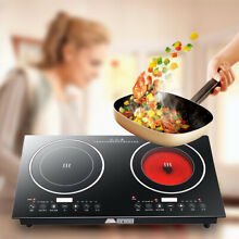 2200W Electric Dual Induction Cooker Countertop Burner Cooktop Touch Pane 110V