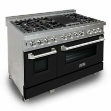 ZLINE 48  DUAL FUEL RANGE OVEN GAS ELECTRIC MATTE BLACK DOOR RAS BLM 48