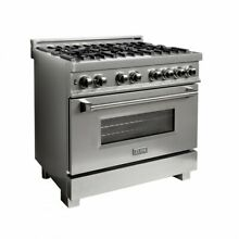 ZLINE 36  DUAL FUEL RANGE OVEN GAS ELECTRIC SNOW FINISH STAINLESS RAS SN 36
