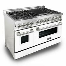 ZLINE 48  DUAL FUEL STAINLESS RANGE OVEN GAS ELECTRIC WHITE MATTE DOOR RA WM 48