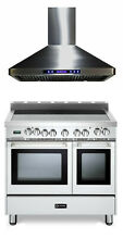 Verona VEFSEE365DW 36  All  Electric Double Oven Range W Hood 2pc Package White