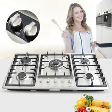 34  5 Burners Built In Stove Top Gas Cooktop Kitchen NG Gas Cooking Easy Clean