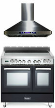 Verona VEFSEE365DE 36  Electric Double Oven Range Matte Black Hood 2pc Package